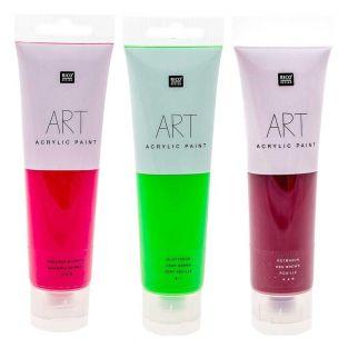 3 tubos de pintura acrílica 100 ml -...