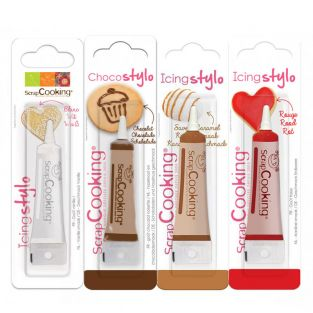 4 edible pens - brown, white, red,...