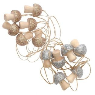 12 small wooden mushrooms for hanging...