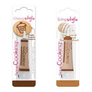 2 edible pens - caramel & chocolate