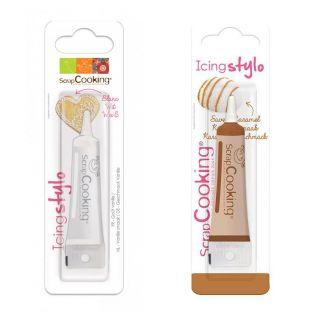 2 stylos alimentaires - caramel & blanc