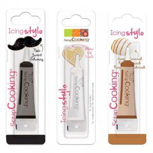 3 edible pens - black, white, caramel