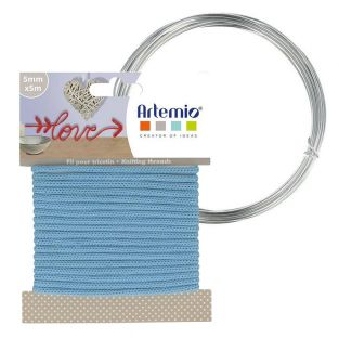 Sky blue knitting yarn 5 mm x 5 m +...