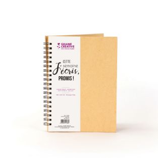 Kraft spiral notebook with black...