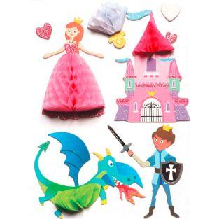 8 pegatinas 3D princesa y caballero 7 cm