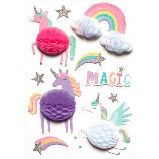 10 pegatinas 3D unicornios 6 cm