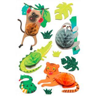 10 pegatinas 3D animales de la selva...