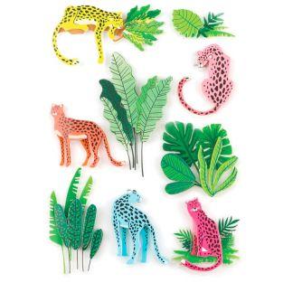 9 pegatinas 3D panteras y selva 5 cm