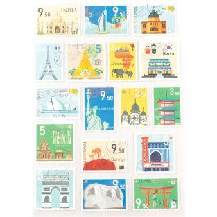 51 pegatinas en forma de sellos -...