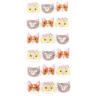 18 mini pegatinas 3D de gatos de 2 cm