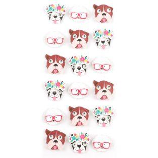 18 mini pegatinas 3D de perros de 2 cm