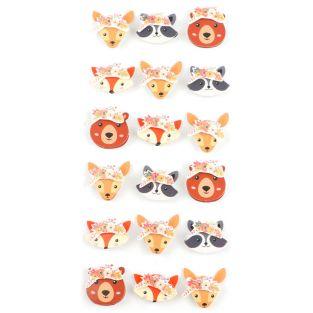 18 mini pegatinas 3D animales del...