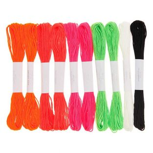 10 cotton embroidery threads - Fluo