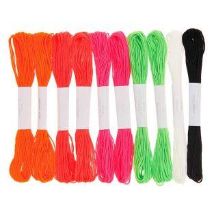 10 fili da ricamo in cotone - Fluo