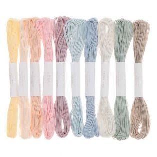 10 fili da ricamo in cotone - Pastello