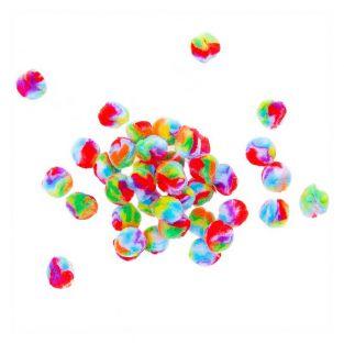 40 Acryl-Pompons - Regenbogen