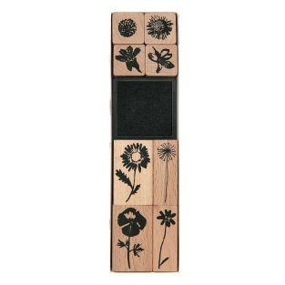 8 tampons en bois - fleurs sauvages