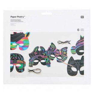 6 Rainbow Scratch Paper Masks