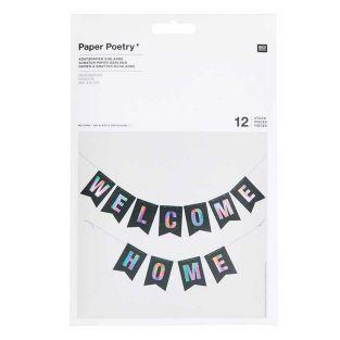 Garland of 12 scratch paper pennants...