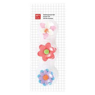 3 flower erasers