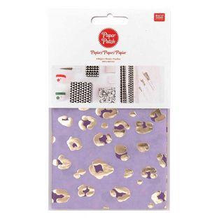 Papier patch Violet leo doré 30 x 42 cm
