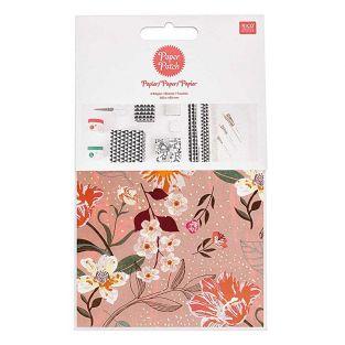 Patch-Papier Rosa Blumenmuster 30 x...