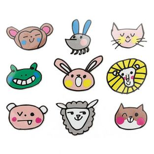 Iron-on badges - Smiling faces animals