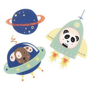 Bügelmotiv - Kleine blaue Astronauten