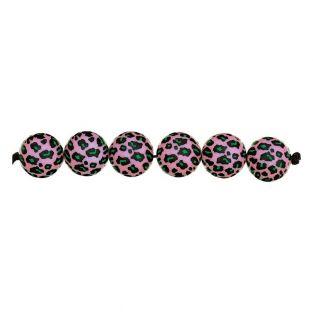 5 perle rosa acido leo Ø 16 mm