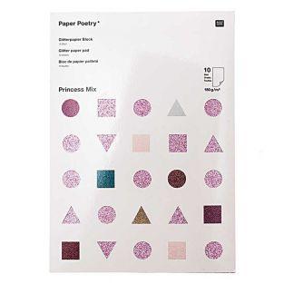 10 hojas de papel con purpurina A4 -...