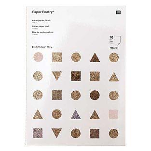 10 fogli di carta glitterata A4 - oro...