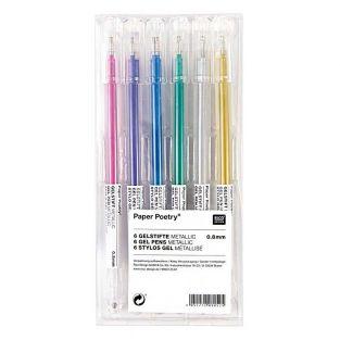 6 Bolígrafos de gel metálicos - 0,8 mm
