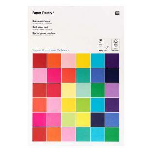30 hojas de papel A4 180 g - Multicolor