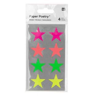 32 autocollants étoiles fluo - Ø 25 mm