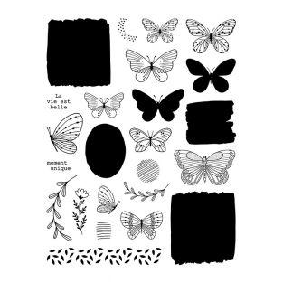 Timbri trasparenti - Farfalle e piante