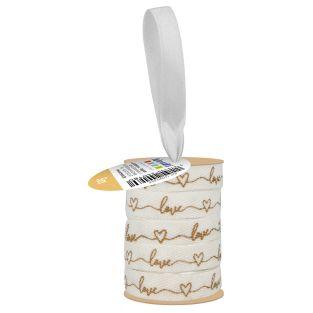 Ruban blanc et doré Love 1 cm x 5 m