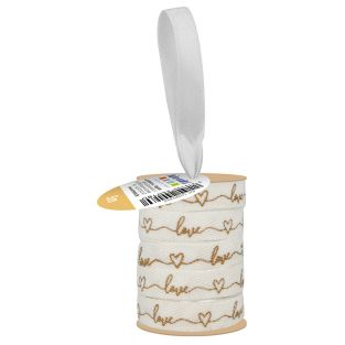 White and gold printed ribbon 1 cm x...