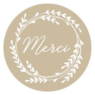 60 stickers kraft Merci Ø 3,5 cm