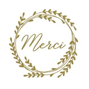 60 stickers ronds dorés Merci Ø 3,5 cm