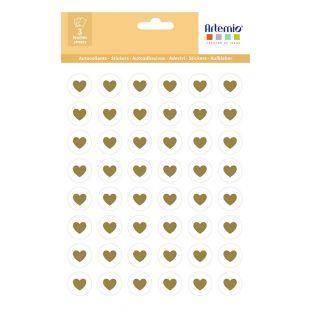 144 adesivi piccoli cuori dorati Ø 2 cm