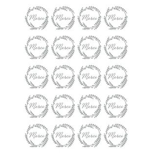 20 Merci-Abziehbilder - Silber