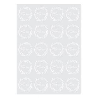 20 Merci-Abziehbilder - Weiß