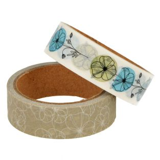 2 masking tapes 5 m x 15 mm - Flowers