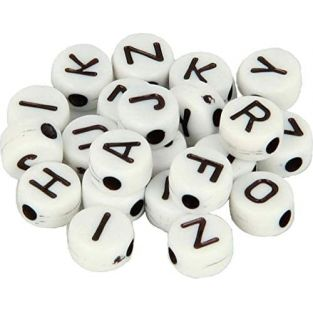 300 Alphabet beads 7 mm - white and...