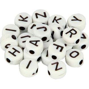 300 Alphabet Perlen 7 mm - weiß und...