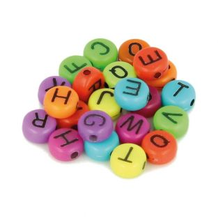 300 Alphabet beads 7 mm - neon colors
