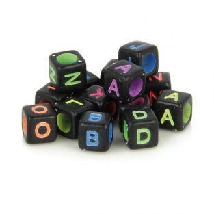 300 Alphabet square beads 6 mm -...