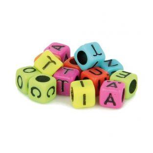 300 Alphabet square beads 6 mm - neon...