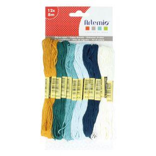 12 mehrfarbige Baumwollfäden x 8 m -...