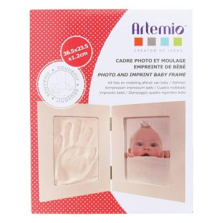Double photo frame with imprint photo...